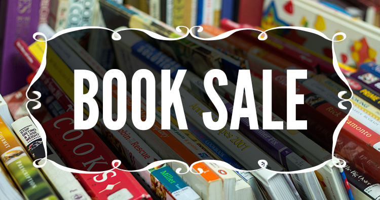books in background with Book Sale written over the top