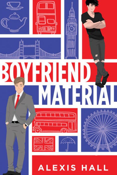 There are red and white rectangles in a white grid, one mn in a suit at bottom of page, on man in jeans and a tshirt at the top, a tea set, Big Ben, London Bridge, double decker bus, London Eye, Union Jack, Umbrella are in teh background.