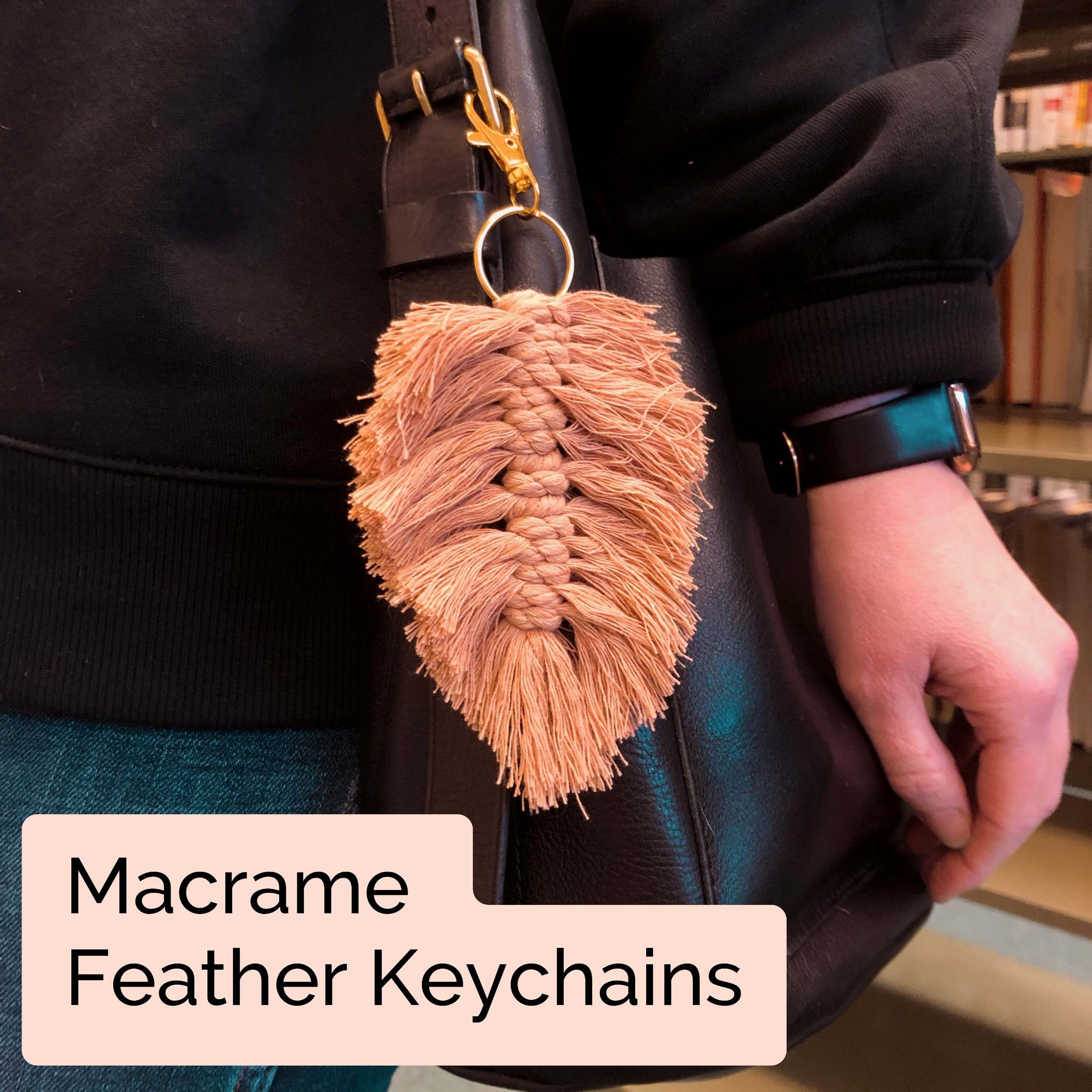 Craft Takeout Macrame Feather Keychains