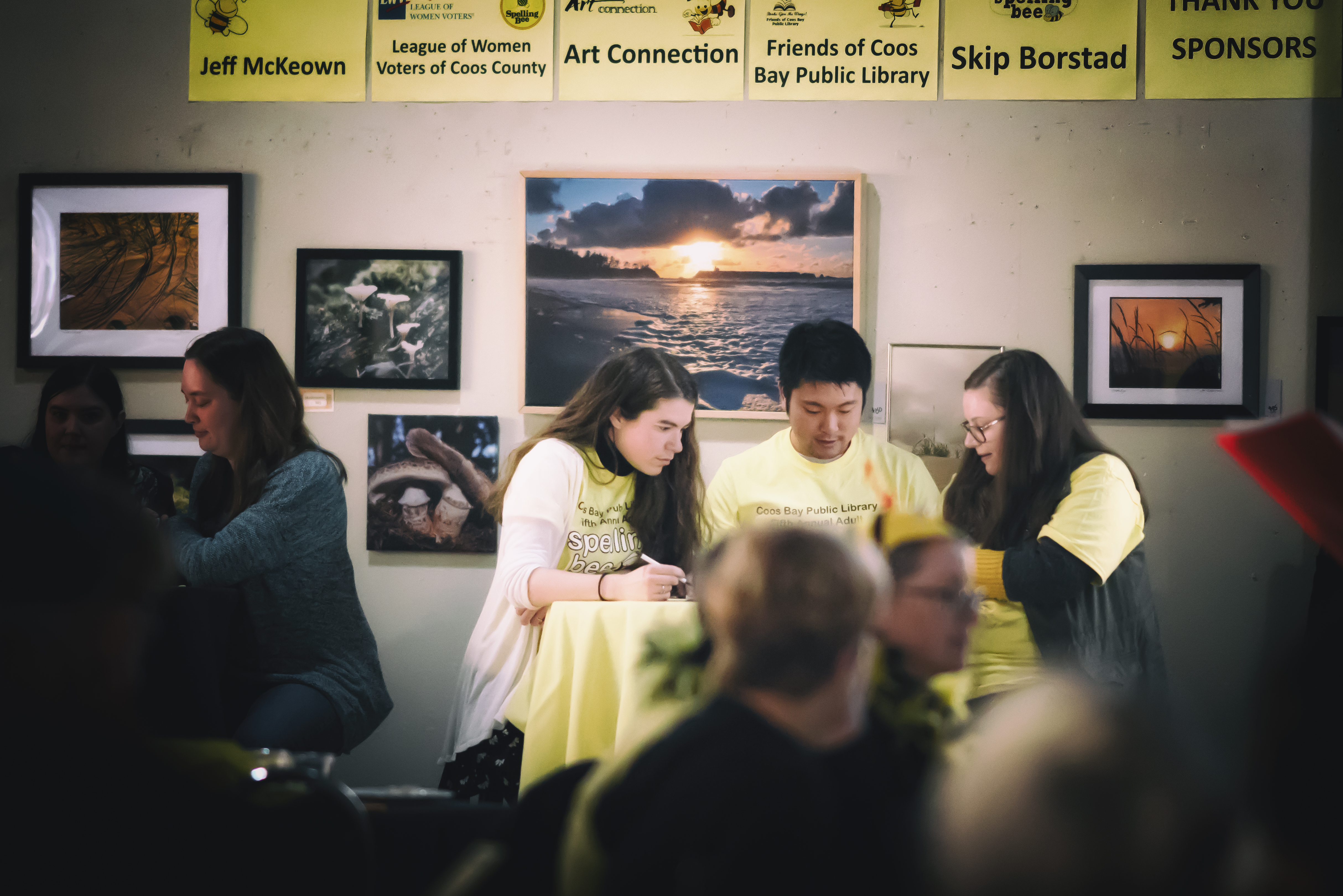 spelling bee team sitting at a table