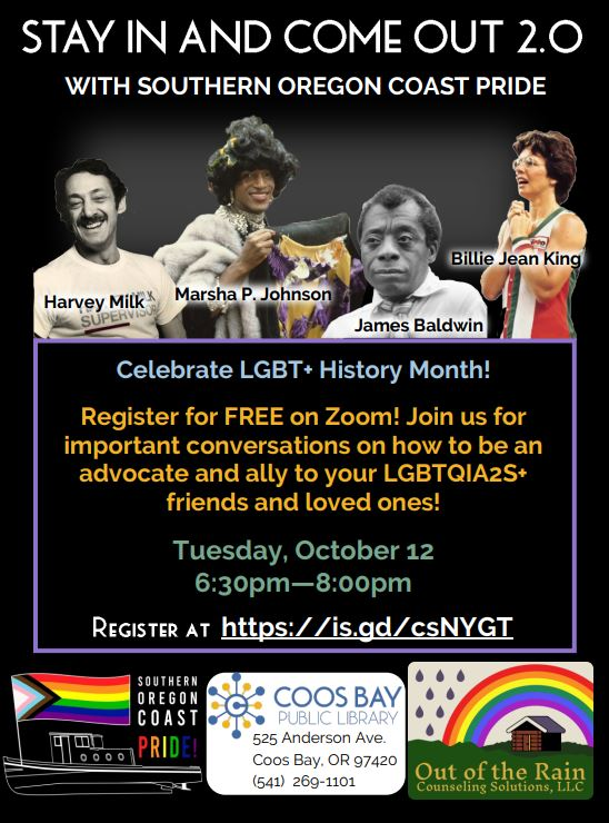 Stay in and Come out 2.0 with Southern Oregon Coast Pride and Out from the Rain Counselling