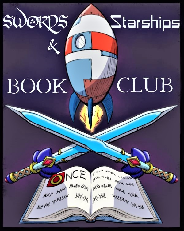 Spaceship over crossed swords and open book.
