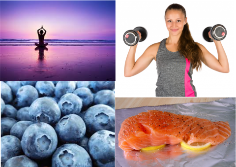 4 pics in one: woman doing yoga, blueberries, salmon fillet, woman lifting weights.