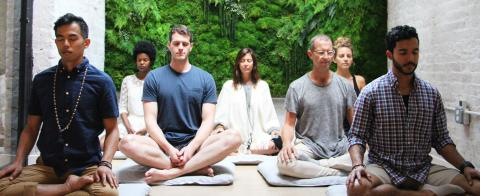 Group yoga meditation