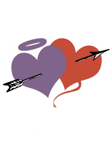 One purple heart with a halo slightly overlapping  one red heart with a devil's tail.
