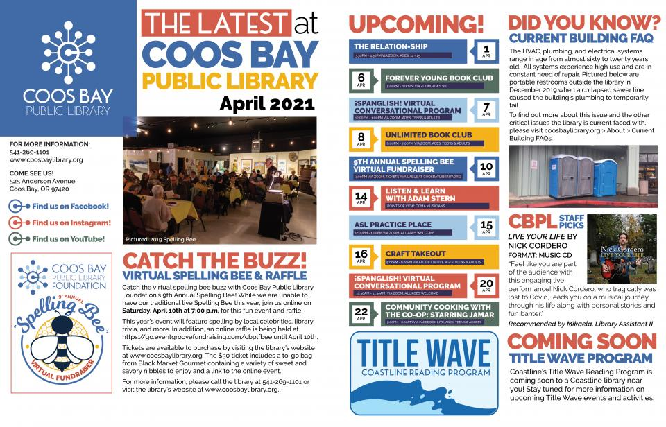 Image of The Latest at Coos Bay Public Library Newsletter for April 2021.