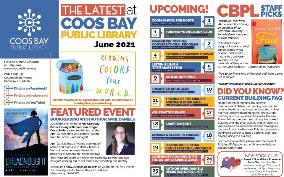 June 2021 edition of Coos Bay Public Library's Latest at Coos Bay Public Library Newsletter.