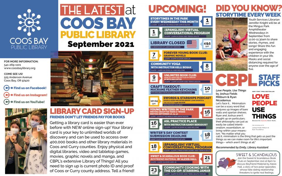 September 2021 edition of Coos Bay Public Library's Latest at Coos Bay Public Library Newsletter.