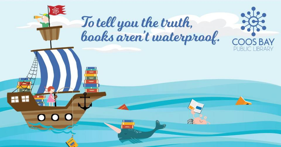 "Ship in ocean with characters and text that says ""To tell you the truth, books aren't waterproof"""
