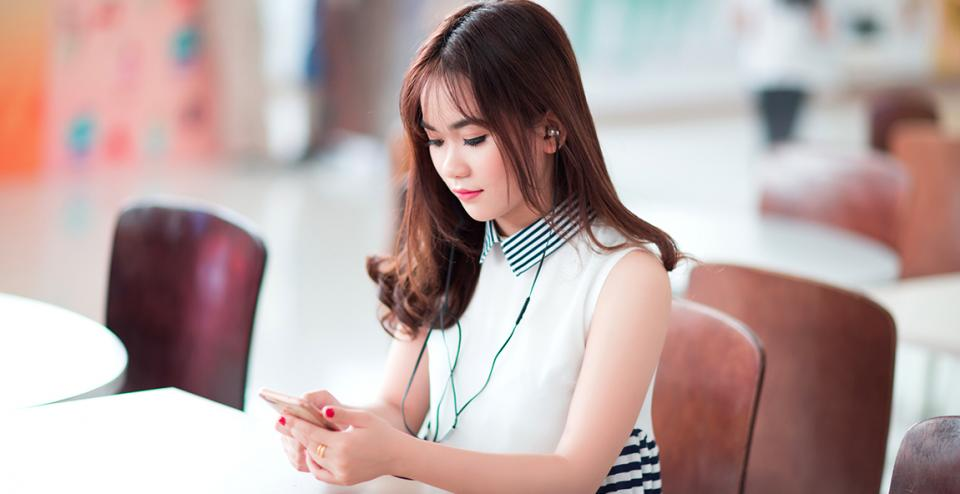 Young woman on her smartphone