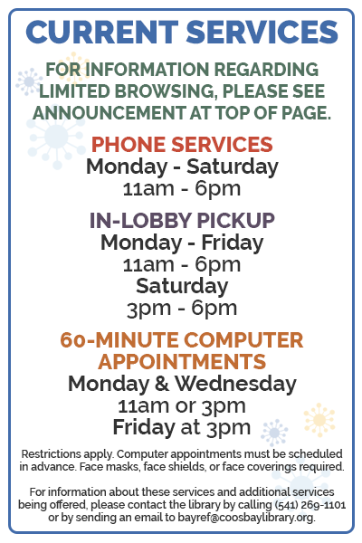 Listing of current services and hours.