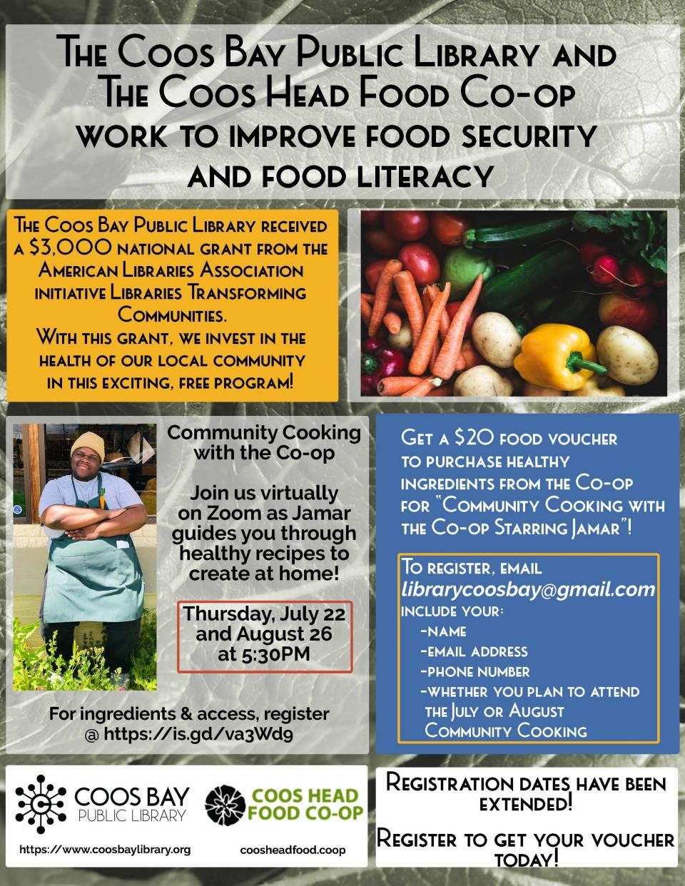 CBPL and Coos Head Food Co-op work to improve food security and food literacy flyer.