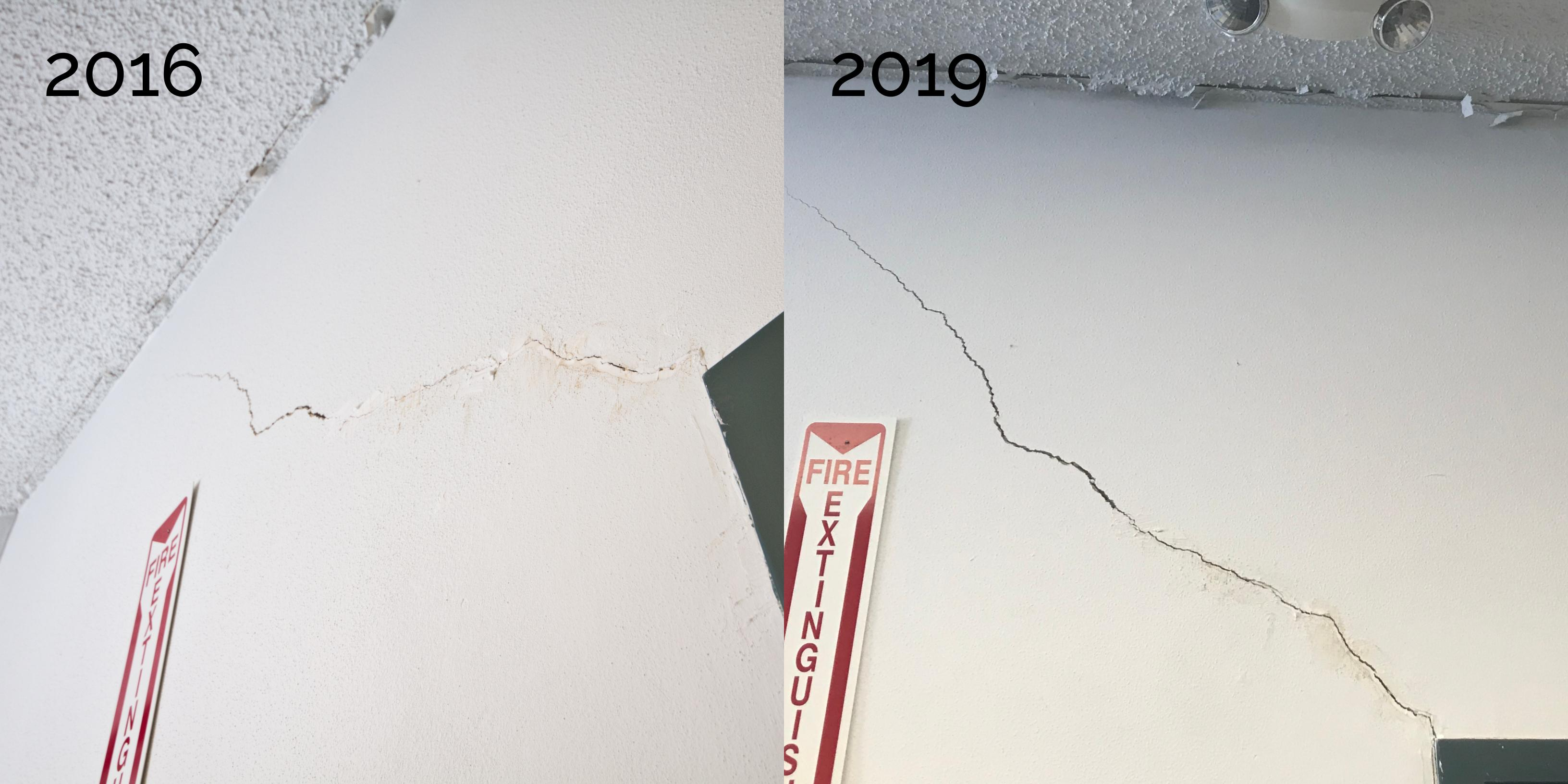 Cracks in wall, 2016 and 2019