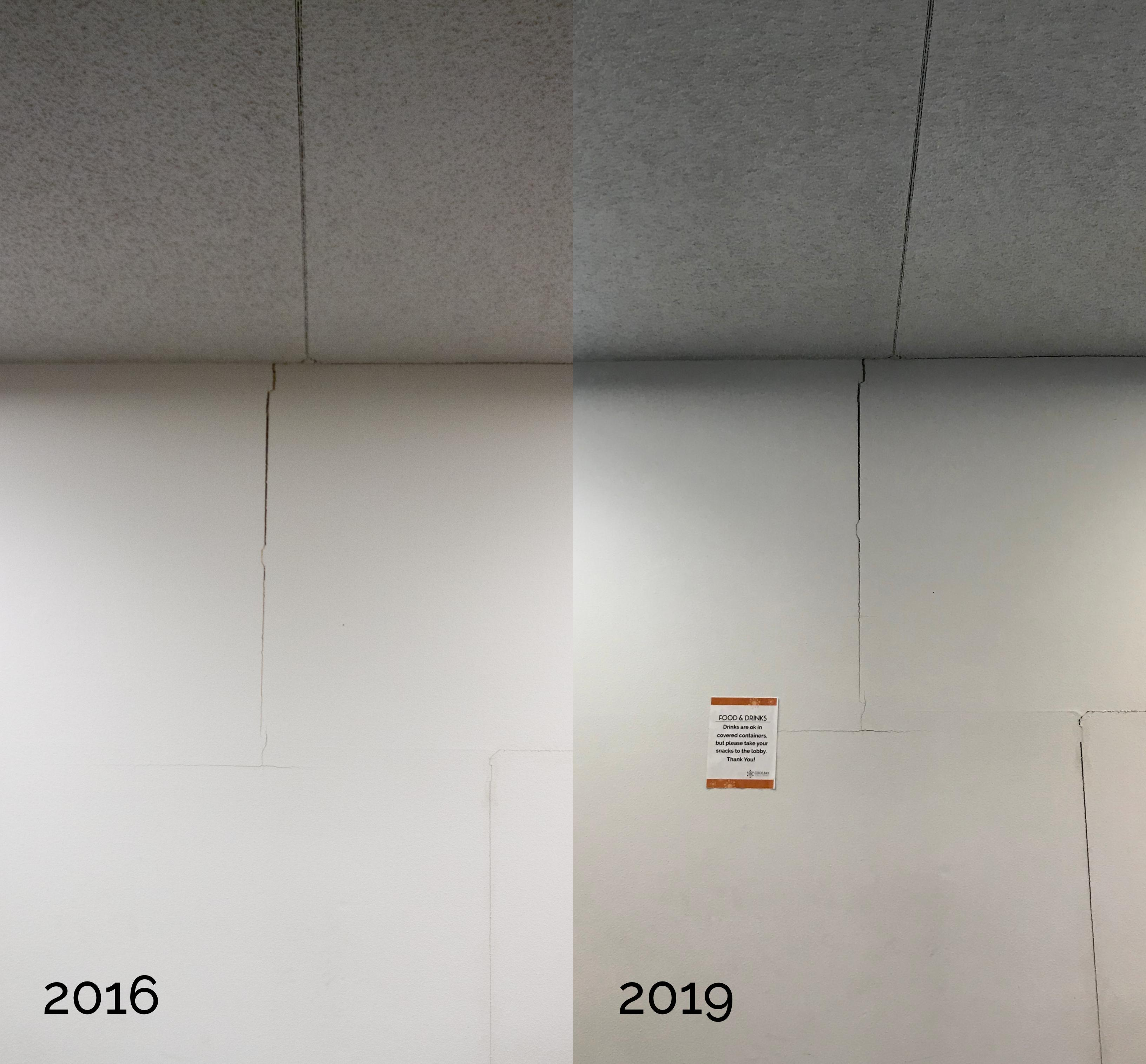 Cracks in wall comparison, 2016 and 2019